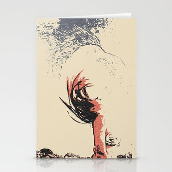 In the move - sexy nude girl, woman in bikini, abstract spiritual sketch, eagle spirit Stationery Cards by Casemiro Arts - Peter Reiss