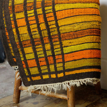Bright Mid Century Wool Rug - Woven Area Rug - Danish Modern - Scandinavian Swedish Decor