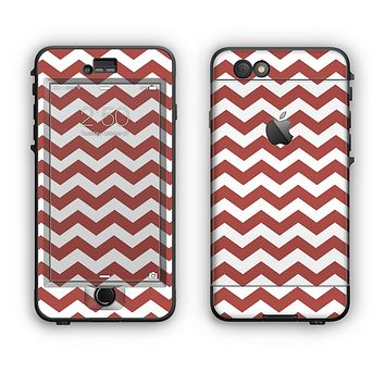 The Maroon & White Chevron Pattern Apple iPhone 6 Plus LifeProof Nuud Case Skin Set