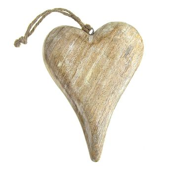 Hanging Wooden Heart Christmas Tree Ornament, White Wash, 6-Inch