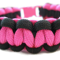 Pink And Black Paracord Survival Bracelet