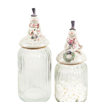 Jolly Holidays Collection Set of 2 Canisters with decorative snowman lid.