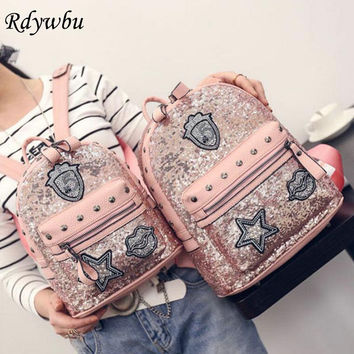 Rdywbu Glitter Bag Backpack Women Rivets Sequins Backpacks For Teenage Girls Rucksack Rhinestone Star Lips Badge Mochilas H101