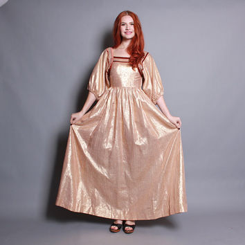 70s SILK Boho DRESS / Albert Nipon Copper METALLIC Maxi Gown, xs