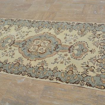 Turkish Rugs, Tribal  rugs, Antique rug, Oushak Rug, Area rug, Vintage Rugs, Turkish carpet, Small rug, Over dyed rug, 3.8x6.9 Ft AG501