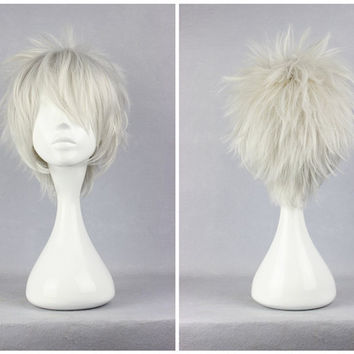 Hitman Reborn Byakuran 30cm Short Silvery White Classical Man Cosplay Wig,Colorful Candy Colored synthetic Hair Extension Hair piece 1pcs WIG-240A