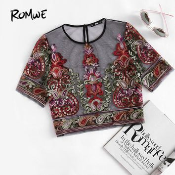Flower Embroidery Mesh Blouse Vintage Sexy Crop Top Women Semi Sheer Tops Black Short Sleeve Thin Tunic Blouse