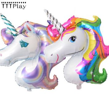 5pcs/lot Large Rainbow Unicorn Foil Balloons Cartoon Animal Inflatable Helium Air Balls Kids Birthday Party Decoration Supplies