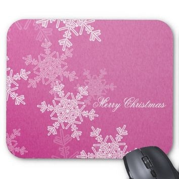 Girly pink and white Christmas snowflakes Mouse Pad