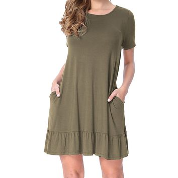Army Green Short Sleeve Draped Hemline Casual Shirt Dress