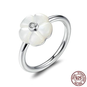 925 Sterling Silver White Flower Luminous Florals, Mother-Of-Pearl & Clear CZ Finger Rings Female Ring