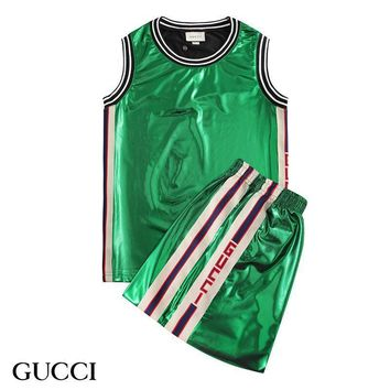 Gucci Fashion Men Shirt Top Tee Shorts Set Two-Piece Green