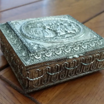 Vintage Silver Toned Trinket Box With Victorian Scene and Red Velvet Lining Perfect for Jewelry Storage Gift Giving Proposal
