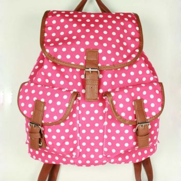 Rose Red Cute Polka Dots Travel Bag Canvas College Backpack