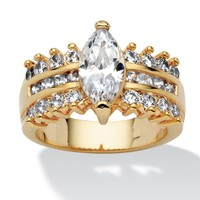 3.28 TCW Marquise-Cut and Round Cubic Zirconia 14k Gold-Plated Engagement Anniversary Ring