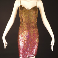 NAEEM KHAN-1990s Sequin Cocktail Dress, Size-8