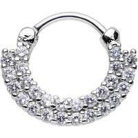"16 Gauge 3/8"" Clear CZ Double Row of Glamour Septum Clicker"