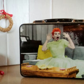 I love Lucy Tin Lunch Box Vintage, Vintage Tin Lunch box I Love Lucy Tote