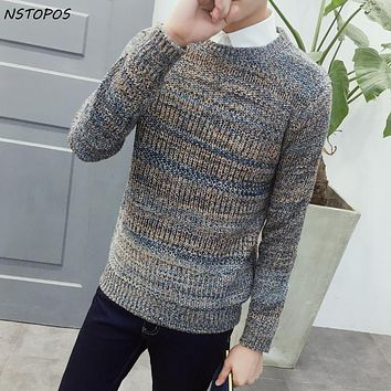 Men's Casual Fashion Pullover Sweater 2016 New Autumn Winter Snowfall Thick Pullover Knitwear Mixed Yarn Plus Size 4Xl 5XL