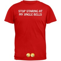 Stop Staring At My Jingle Bells Red Adult T-Shirt