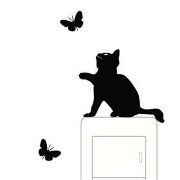 New Cat Wall Stickers Light Switch Decor Decals Room Window Wall Decorating Switch Vinyl Decal Sticker Decor Cartoon Hot Apr19