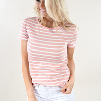 Beach Life Striped Top ~ Soft Pink