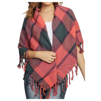 """Always My Style"" Huge Cozy Coral Mix Fringe Accent Plaid Blanket Scarf"