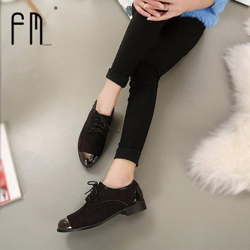 Brand Oxford shoes for women Autumn Womens Low Heel Oxfords Shoes Suede Leather Flats
