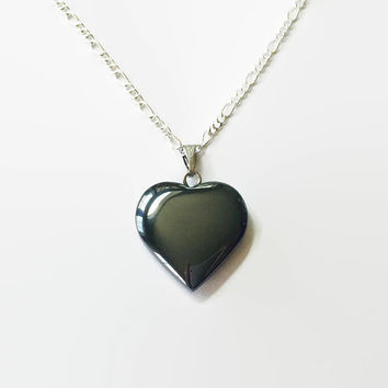 Hematite heart necklace gemstone heart hematite pendant chakra healing necklace reiki necklace girlfriend necklace protection charm