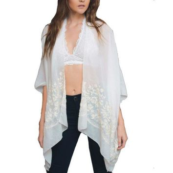 ESB1ON Floral Embroidered Stitch Kimono - Comes in 2 Colors