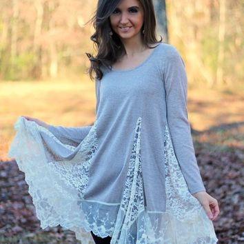 Entro Sand Long Asymetrical Tunic Top with Lace Inserts