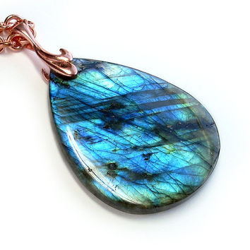 Labradorite Pool Copper and Labradorite Necklace by GothicGlitter