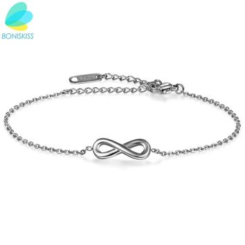 Boniskiss Girl Anklets Casual/Sporty Silver/Rose Gold Color Stainless Steel Women Ankle Infinity Bracelet Jewelry