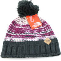 The North Face Women's Antlers Pom Parlour Purple Beanie Hat