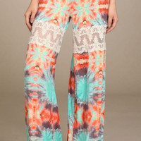 Kiss Me Under the Fireworks Palazzo Pants - Chatoyant-Tie Dye-Lace Inset