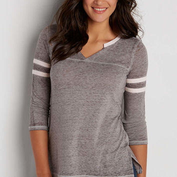 burnout football tee with slit neckline | maurices