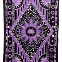 Purple Sun Moon Tapestry Astrology Hippie Bedding Wall Hanging Tapestries 4360