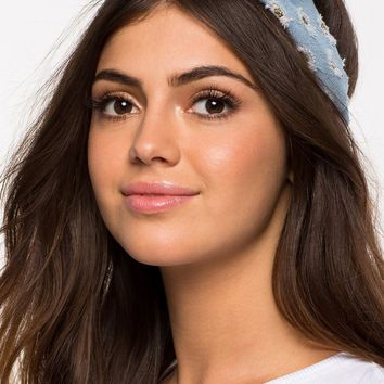 Glitter Denim Tie Front Headband