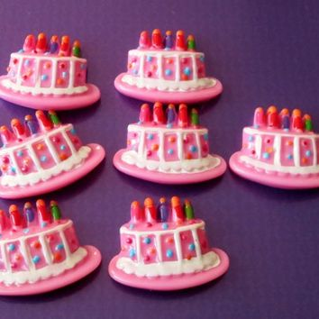 Resin Happy Birthday Cake and Candles Flat Back Cabochon DIY pink
