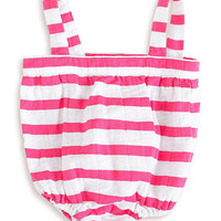 Shocking Pink Stripe Muslin Romper - Infant