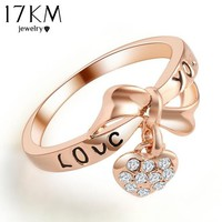 2015 Romantic Gift Retro Love Heart Bow Rings Gold Plated wedding Austrian Crystal SWA Element Rings Word Ring For Women 2015