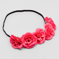 Hot Pink Rosette Cluster Flower Crown Headbands