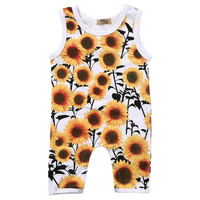 Newborn Infant Baby Girl Sunflower Romper Sleeveless Jumpsuit Sunflower Outfit Sunsuit Clothes