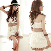 Sweet Princess Fashion Girls Drape Korean Chiffon Strapeless Lace Mini Dress