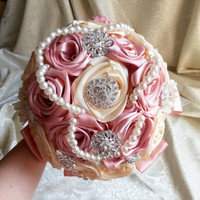 Satin ribbon flowers wedding BOUQUET dusky pink ivory creme pearls, sparkling brooches, satin Handle, cotton lace, vintage style, custom