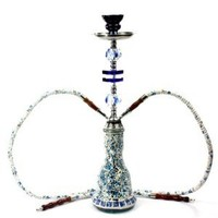 "NeverXhale Deluxe Series: 20"" 2 Hose Hookah Complete Set w/ Travel Case - Mosaic Tile Art Glass Vase - Pick Your Color (Blue w/ Case)"