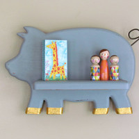 Pig Silhouette Wall Shelf - Modern Baby Decor - Grey Chalk Painted Wall Shelf - Rustic cottage Decor - Modern Rustic Kitchen Spice Shelf