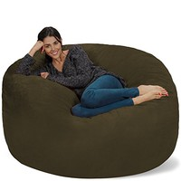 Chill Sack Bean Bag Chair: Giant Memory Foam Furniture Bags and Large Lounger - Big Sofa with Huge Water Resistant Soft Micro Suede Cover - Olive, 5 feet