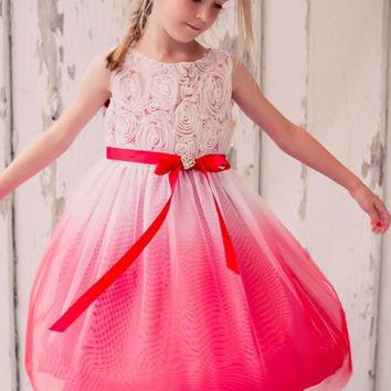 Red Ombre Dyed Tulle Dress with Floral Ribbon Bodice (Girls Sizes 2T - 14)