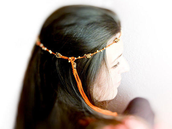 Boho Summer beaded crochet skinny headband.